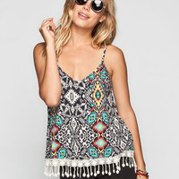 Full Tilt Southwest Print Womens Crochet Fringe Trim Tank Multi  In Sizes