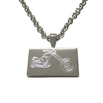 Silver Toned Etched Chopper Motorcycle Pendant Necklace