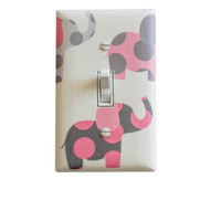 Pink and Gray Elephant Nursery Decor / Light Switch Plate Cover / Baby Girl Room Pink White Grey
