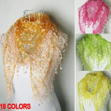 DCCKJG2 2016 fashion pashmina lace scarf women Triangle echarpes cachecol winter cape spain scarves gifts for girl