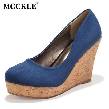 MCCKLE Women High Heels Sexy Party Dress Pumps Female Point Toe Slip On Wedges Shoes Woman Platform Flock Shoes Ladies Black