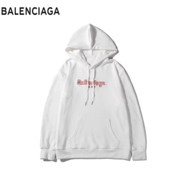 Balenciaga New fashion bust embroidery letter couple high quality hooded long sleeve sweater White