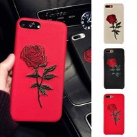 Women Elegant Embroidery Rose Flower Phone Case Cover For iPhone 6s Plus 7 7Plus