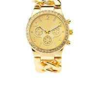 Rhinestone & Chain Link Bracelet Watch by Charlotte Russe - Gold