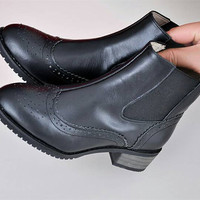 Women /men 's leather black boots, handmade with genuine leather , classic simple vintage style, customized shoes with 12 colors