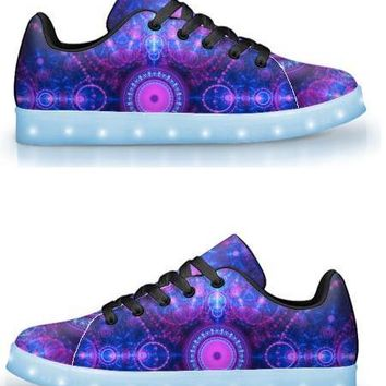 Blue & Pink Fractal - APP Controlled Low Top LED Shoes