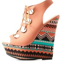 Peach Dollhouse Lace-Up Aztec-Platform Wedges