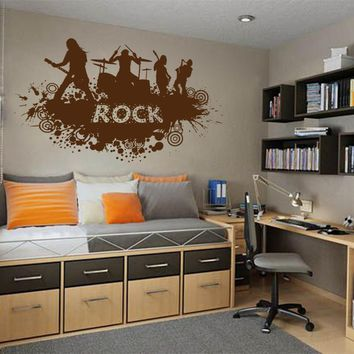 ik806 Wall Decal Sticker rock band guitar drums singer concert bedroom teens