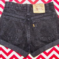 Vintage High-Waisted Black LEVIS Shorts....Cut-Off and Cuffed