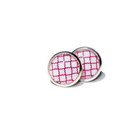 Pink and White Clover Design Earrings