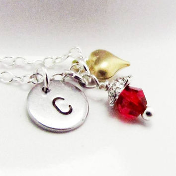 Kids Stamped Necklace Dainty Personalized Jewelry Alphabet Pendant Birthstone