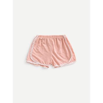 Girls Pom Pom Trim Solid Shorts