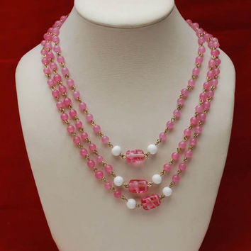 Coro Long  Bead Necklace -  Pink art glass beads - White milk glass - Signed -  Mod century Vintage - 60 inches