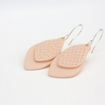 Pastel peach dangle leaf earrings, fimo clay jewelry, sterling silver