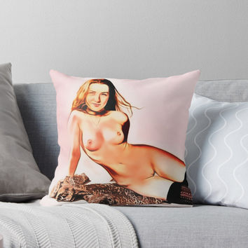 'Nude and happy, yummy combination' Throw Pillow by cartoonsex