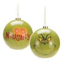 "Dr. Seuss Grinch ""Naughty"" LED Ball Ornament"