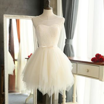 Quality bridesmaid dresses 2016 New Sweet Lace wedding Party special occasion dresses White Red Champagne Short porm dresses