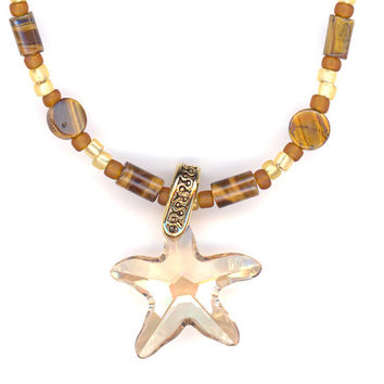 Crystal Star Pendant, Tiger Eye Necklace, Beige and Browns