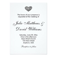 Black and White Ornamental Heart Wedding Invite
