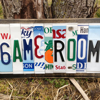GAME ROOM Custom Recycled License Plate Art Sign Decor