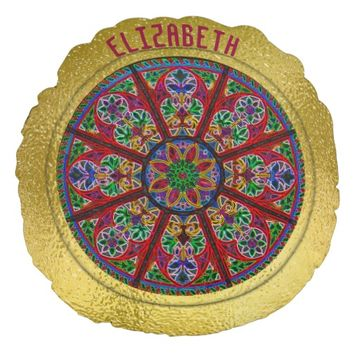 Cathedral Church Stained Glass Colorful Rosette Round Pillow