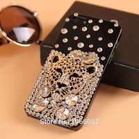 Hot Tiger Leopard Head Crystal Bling Cases for Samsung Galaxy S8 S7 Edge S6 Edge S6 Note 5 4 iPhone 7 6S 6 Plus 5s 5 4s 4 Fundas
