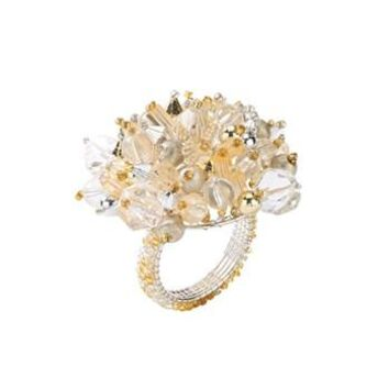 Crystal Dome Napkin Ring by Kim Seybert | Gold Silver S/4