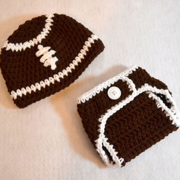 Newborn Football Hat and Diaper Cover Set, 0 to 3 months, Ready to Ship, Crochet Baby Hat, Newborn Photo Prop, Football Outfit