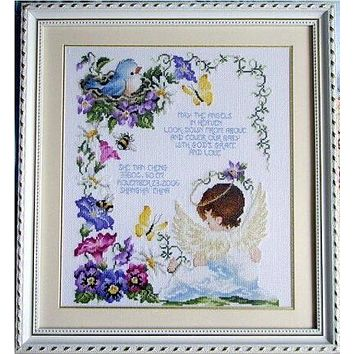 Similar DMC quality unprinted 14ct counted cross stitch kits cartoon angel baby birth record gift needlework embroidery crafts