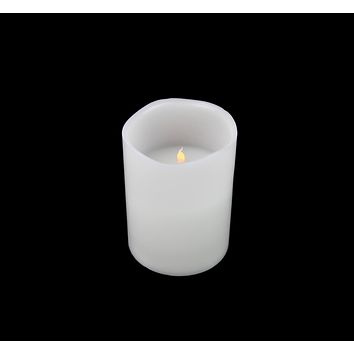 """8"""" White Battery Operated Flameless LED Lighted 3-Wick Flickering Wax Christmas Pillar Candle"""