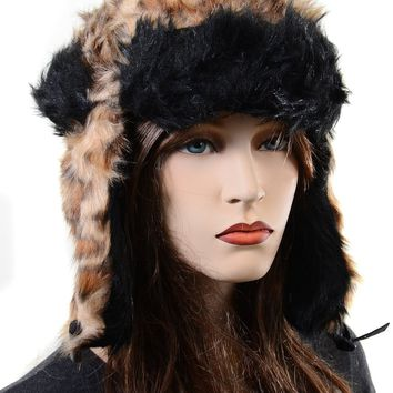 Furry All Over Vegan Friendly Leopard Cold Weather Ushanka Trapper Hat