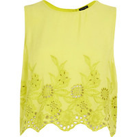 River Island Womens Lime floral embroidered crop tank top