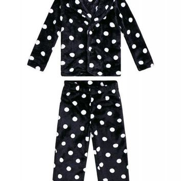 C| Chicloth Kids Velvet Dot Print Long Sleeve Pajamas Sets