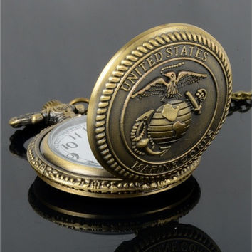 United States Marine Corps Men's Retro Bronze Vintage Quartz Pocket Watch [8322858177]