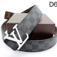 LV Trending Smooth Buckle Belt Print Leather Belt I