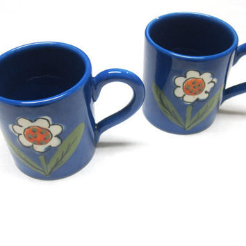 Flower Stoneware Coffee Cups Tea Mugs Set of Two Blue Italian