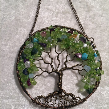 Generational Ancestry Family Tree of Life Wire Wrapped Trees - Sun Catcher - Window Wall - Ornament Handmade Gemstones