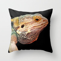 BEARDED DRAGON Throw Pillow by catspaws