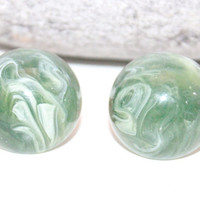 Mid Century Womens Earrings / Marbled Green Swirl Lucite / Clip On Earring Dome Shape