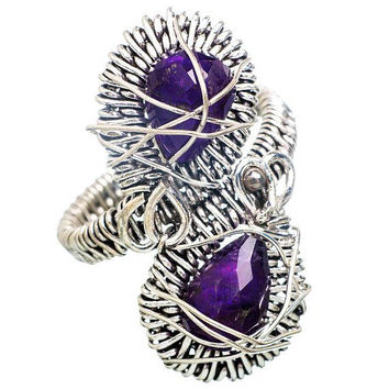 Amethyst Wire Wrap Ring 925 Sterling Silver Double Teardrop Stones Sz 8 NOS Vintage