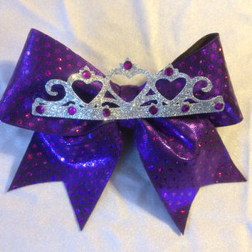 Purple tiara mini princess cheer bow.