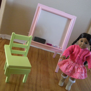 Doll School Desk and Double-sided Dry Erase Easel Set for American Girl Doll or 18-inch Dolls