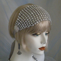 1920's Headpiece, Flapper Headband, Gatsby, Old Hollywood, Vintage, Silver, Crystal, bridesmaids no. 99