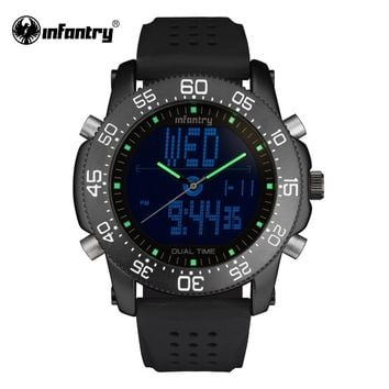 Mens Military Watches Luxury Brand Quartz Watches INFANTRY Digital-Analog LED Watches Gift for Male Clock Relogio Masculino