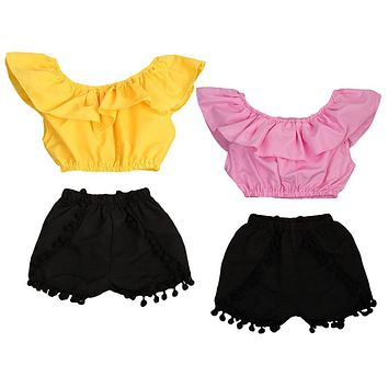 2PCS Children Kids Girl Clothes 2017 Summer Fashion Cape Collar Crop Tops +Tassel Shorts Hot Pant Outfits Sunsuit Clothing