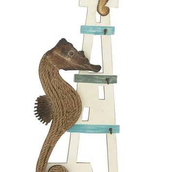 "Sea Horse Wood Nautical Wall Decor 14""W, 40""H"