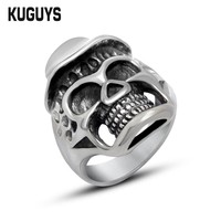 KUGUYS Stainless Steel Hat Skull Ring Mens  Motorcycle Rings