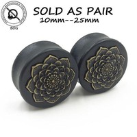 PEAPGC3 BOG-1 Pair Black Natural Wood Double Flared Ear Tunnel Plug Expanders Earlet Gauges With Mandala Flower Body Piercing Jewelry