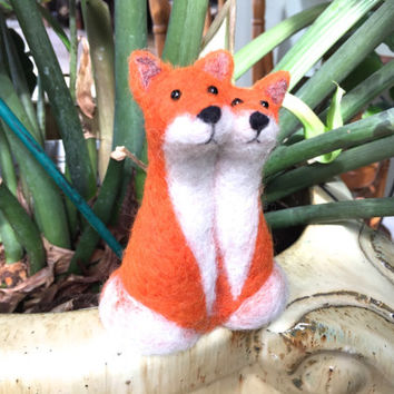 Needle felted Fox wedding cake topper fox cake topper needle felted animal felted cake topper felted fox soft sculpture felt fox felt4soul