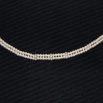 Vintage Faux Pearl Choker With Diamond Rhinestone Accents  Perfect For A Wedding